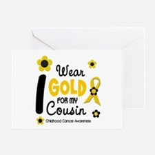 I Wear Gold 12 Cousin CHILD CANCER Greeting Card