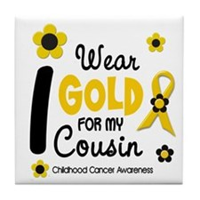 I Wear Gold 12 Cousin CHILD CANCER Tile Coaster