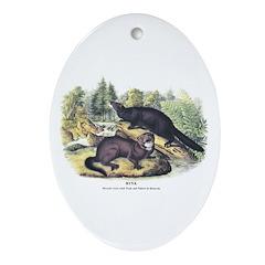 Audubon Mink Animal Oval Ornament
