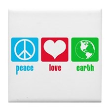 Peace Love Earth Tile Coaster