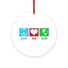 Peace Love Earth Ornament (Round)