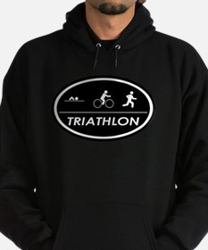 Triathlon Oval Black Hoodie (dark)