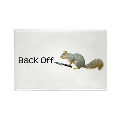 Squirrel Knife Back Off Rectangle Magnet