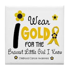 I Wear Gold 12 Brave Girl Tile Coaster
