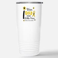 I Wear Gold 12 Little Hero CHILD CANCER Travel Mug