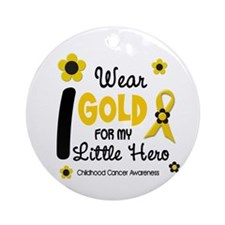 I Wear Gold 12 Little Hero CHILD CANCER Ornament (