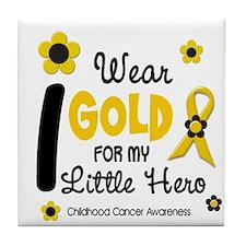I Wear Gold 12 Little Hero CHILD CANCER Tile Coast
