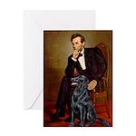 Lincoln / Flat Coated Retriev Greeting Card