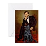 Lincoln / Flat Coated Retriev Greeting Cards (Pk o