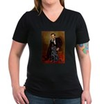 Lincoln / Flat Coated Retriev Women's V-Neck Dark