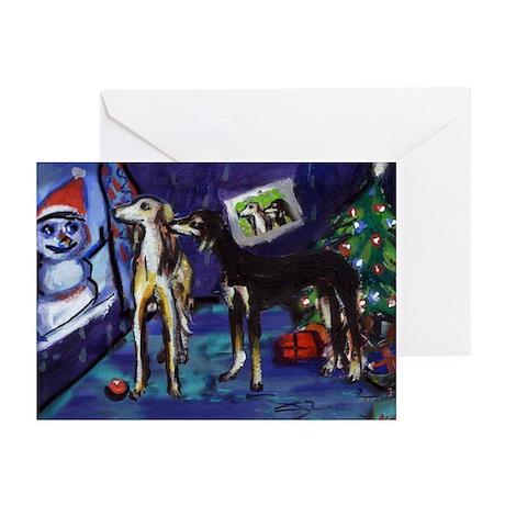 SALUKI xmas art design Greeting Cards (Package of