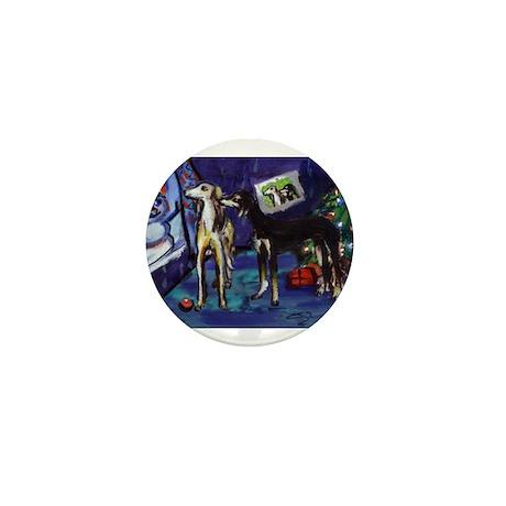 SALUKI xmas art design Mini Button (10 pack)