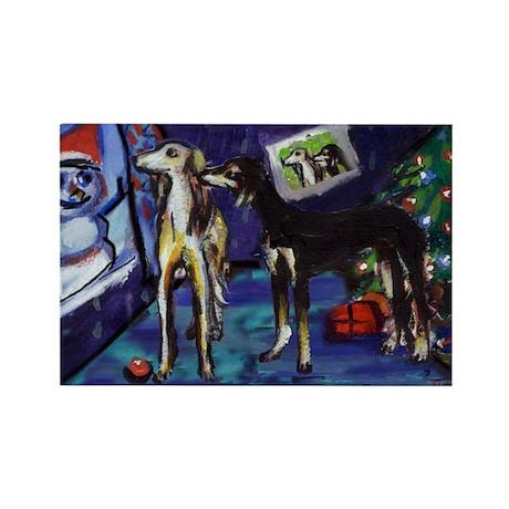 SALUKI xmas art design Rectangle Magnet (100 pack)