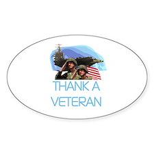Thank a Veteran Oval Decal