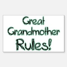 Great Grandmother Rules! Rectangle Decal