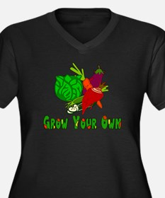 Grow Your Own Women's Plus Size V-Neck Dark T-Shir