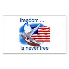 Freedom's Never Free Rectangle Sticker 10 pk)