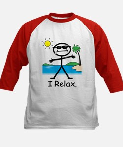 Relax Stick Figure Kids Baseball Jersey