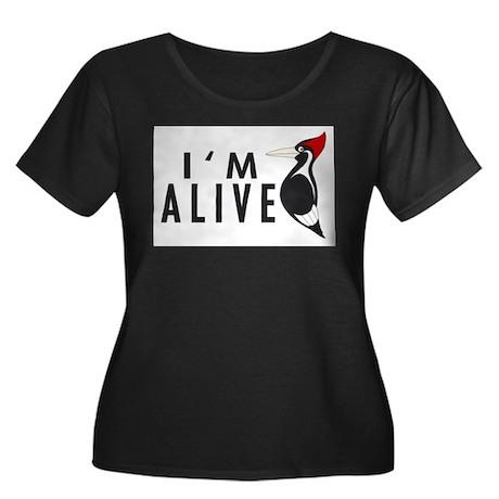 I'm Alive -- Woodpecker Women's Plus Size Scoop Ne