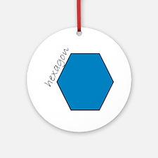 turquoise hexagon Ornament (Round)