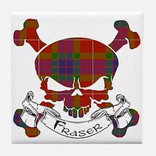 Fraser Tartan Skull Tile Coaster