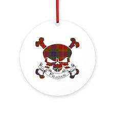 Fraser Tartan Skull Ornament (Round)