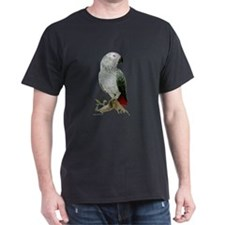 African Grey  Black T-Shirt