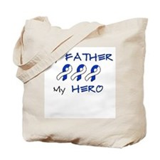 Hero Father Blue and White Tote Bag