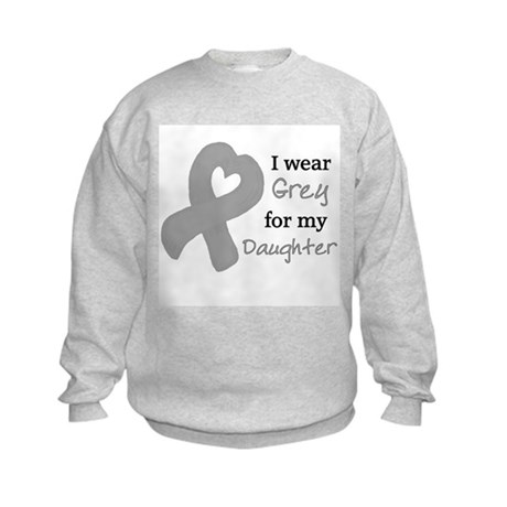 I WEAR GREY for my Daughter Kids Sweatshirt