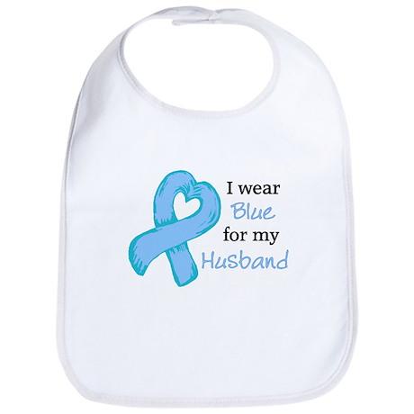 I WEAR lt Blue for my Husband Bib