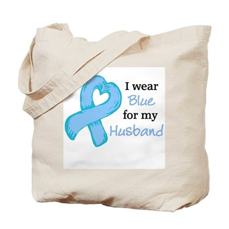 I WEAR lt Blue for my Husband Tote Bag