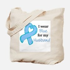 I WEAR lt Blue for my Husband Tote Bag