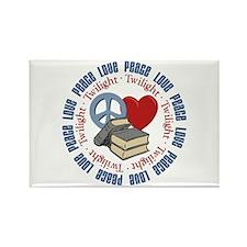 Peace Love Twilight Book Rectangle Magnet
