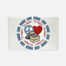 Peace Love Twilight Book Rectangle Magnet