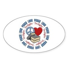 Peace Love Twilight Book Oval Decal