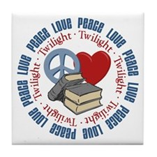 Peace Love Twilight Book Tile Coaster