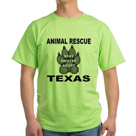 The Texas Animal Rescue Paw Green T-Shirt