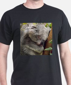 Sleeping Koala Black T-Shirt