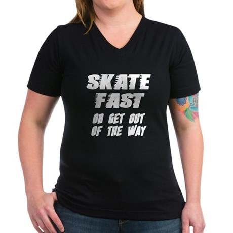Skate Fast Women's V-Neck Dark T-Shirt