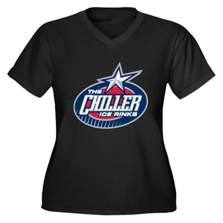 Chiller Logo Women's Plus Size V-Neck Dark T-Shirt