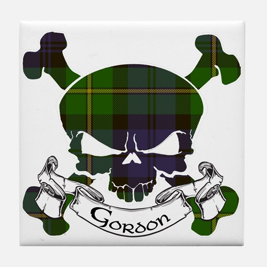 Gordon Tartan Skull Tile Coaster
