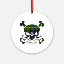 Gordon Tartan Skull Ornament (Round)
