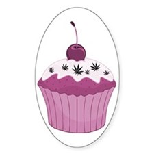 Mary Jane's Pink Cupcake Oval Decal