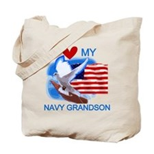Love My Navy Grandson Tote Bag