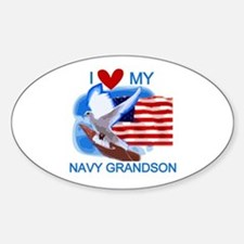 Love My Navy Grandson Oval Decal