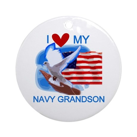Love My Navy Grandson Ornament (Round)