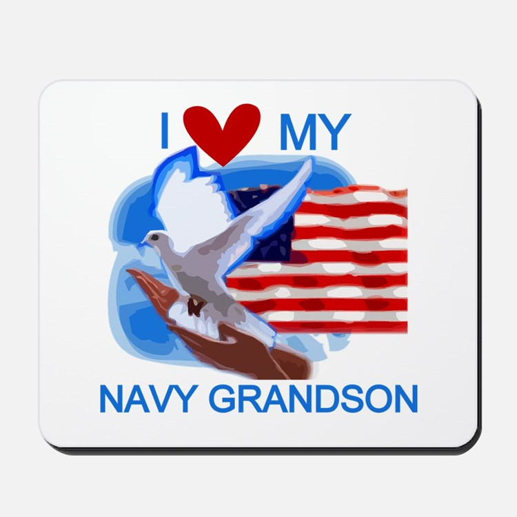 Love My Navy Grandson Mousepad