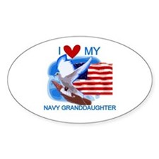 Love My Navy Granddaughter Oval Stickers