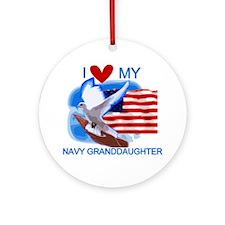 Love My Navy Granddaughter Ornament (Round)
