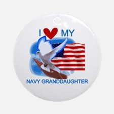 Love My Navy Granddaughter Ornament (Round)